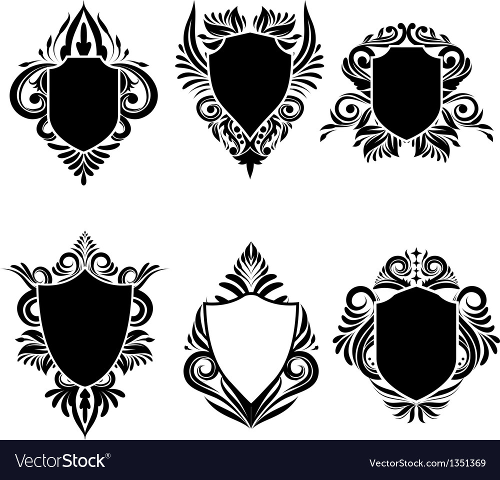Shield swirl ornamental vector
