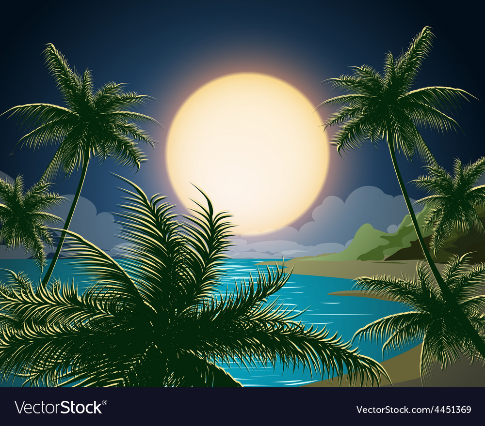 Tropical seascape vector | Price: 3 Credit (USD $3)