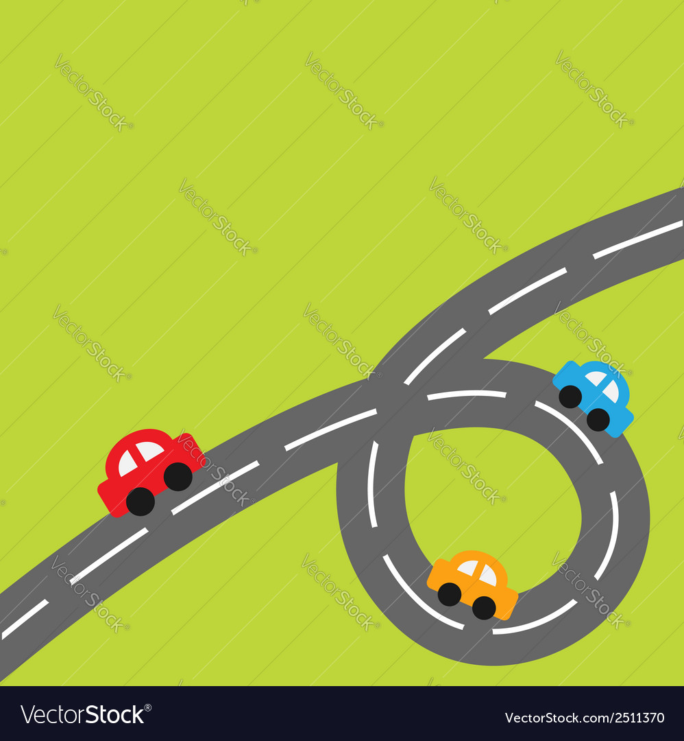 Background with big loop road and cartoon cars vector | Price: 1 Credit (USD $1)