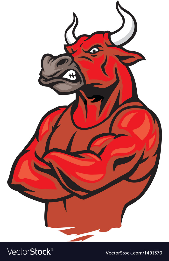 Bull in crossed arm pose and showing the muscles vector | Price: 1 Credit (USD $1)