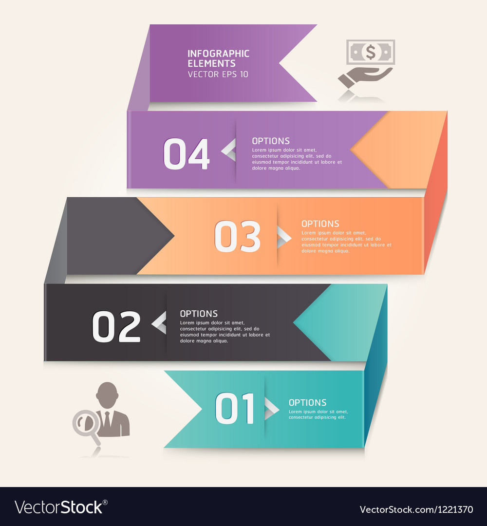 Business step options origami style vector | Price: 3 Credit (USD $3)