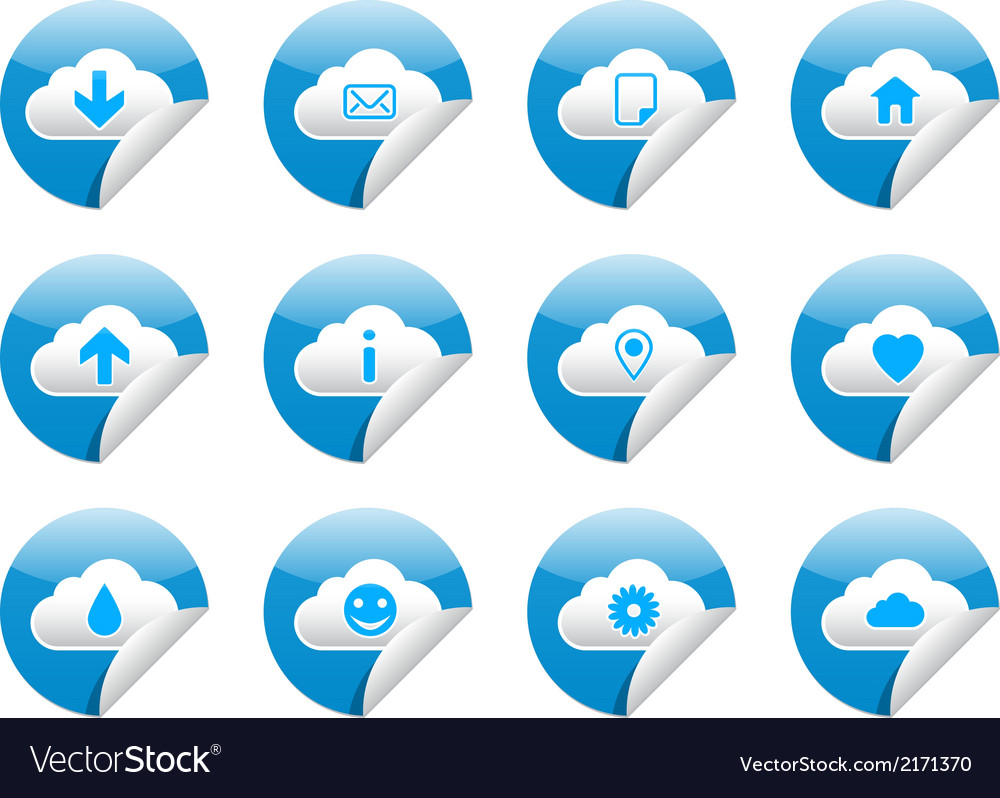 Cloud sticker symbols vector | Price: 1 Credit (USD $1)