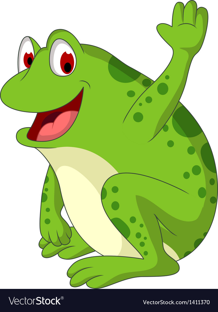 Cute frog cartoon smiling vector | Price: 1 Credit (USD $1)
