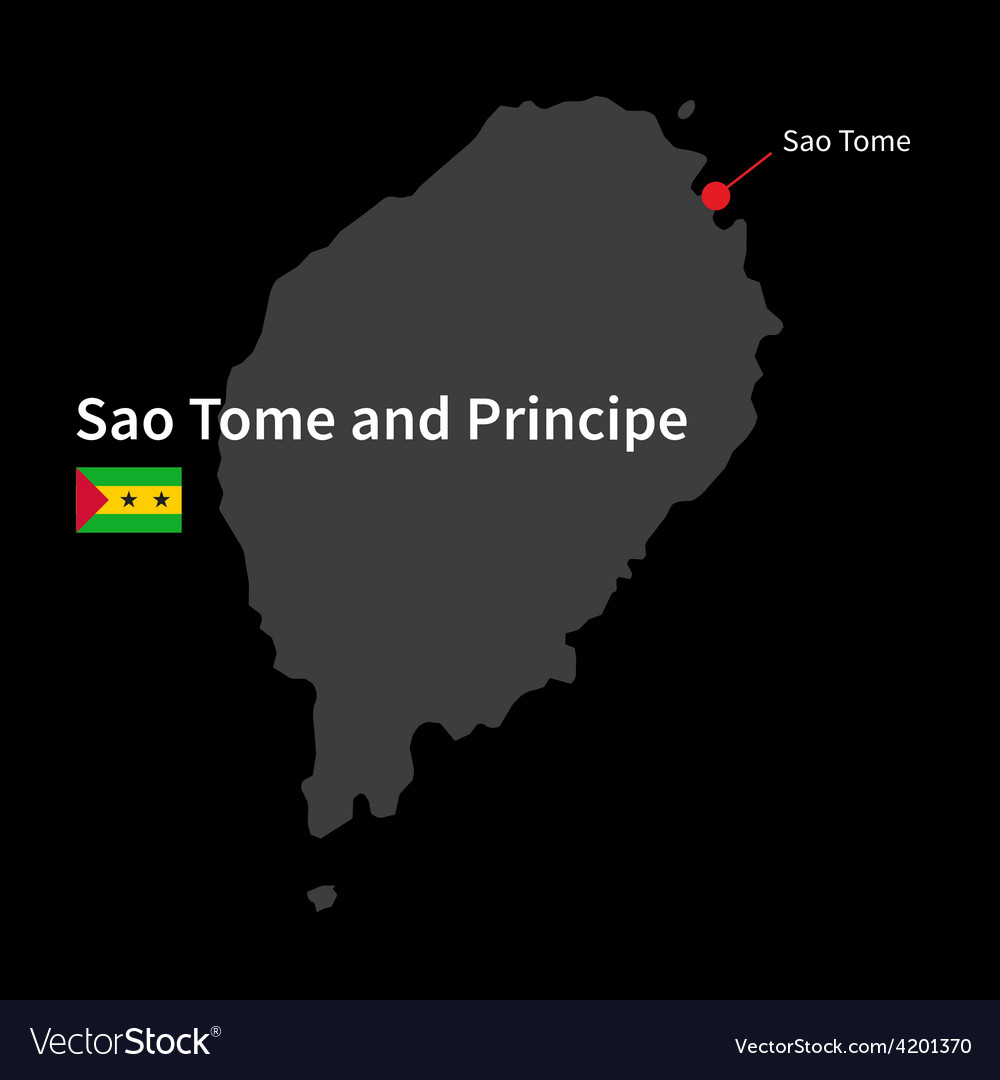Detailed map of sao tome and principe and capital vector | Price: 1 Credit (USD $1)