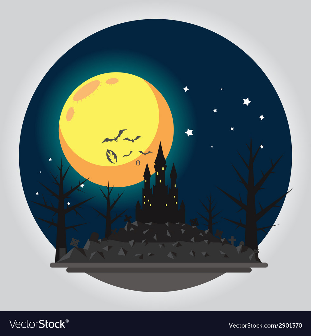 Flat design halloween castle vector | Price: 1 Credit (USD $1)