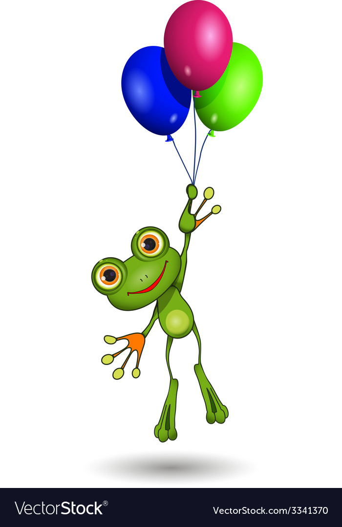 Frog on balloons vector | Price: 1 Credit (USD $1)