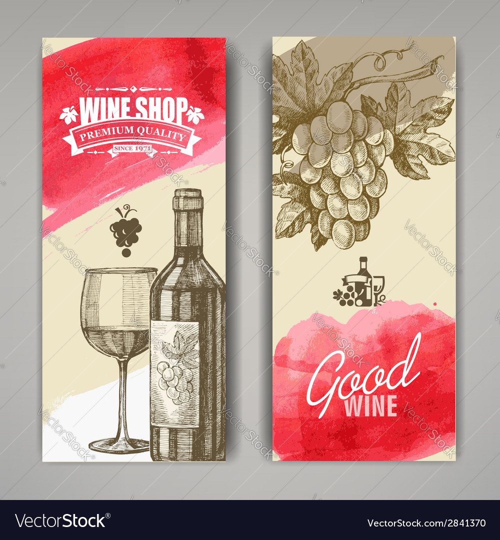 Hand drawn of wine banners vector | Price: 1 Credit (USD $1)
