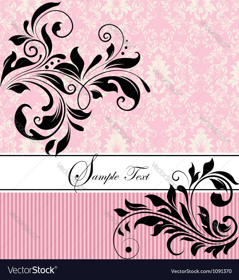 Pink floral wedding invitation vector | Price: 1 Credit (USD $1)