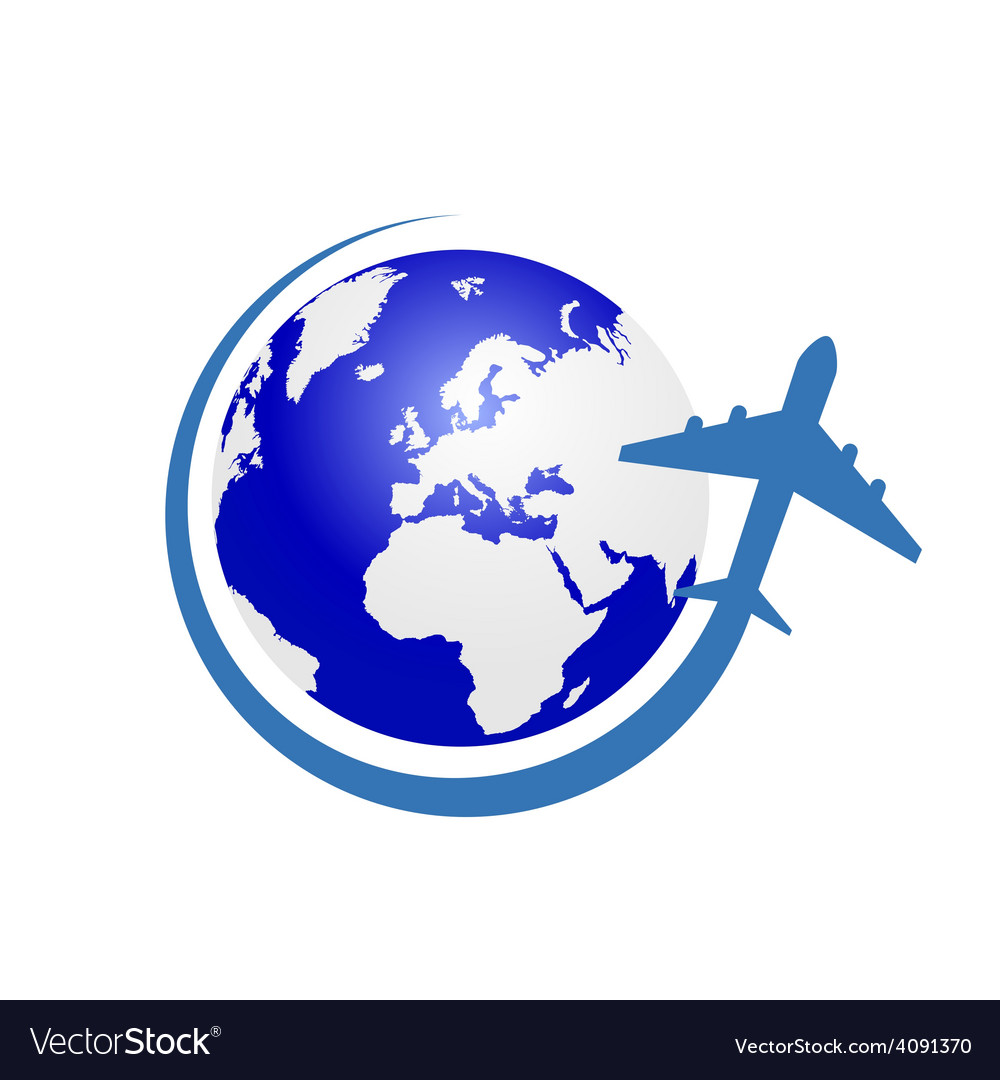 Planet with airplane color in blue vector | Price: 1 Credit (USD $1)