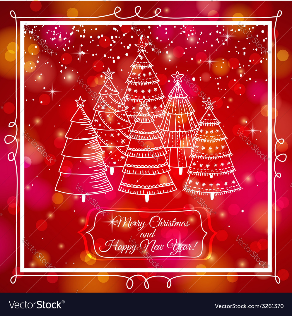Red background with forest of christmas trees vector | Price: 1 Credit (USD $1)