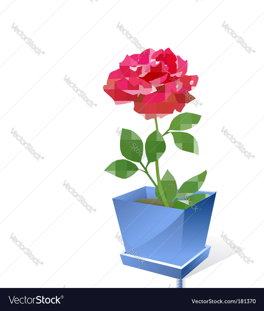 Red rose flower in pot vector | Price: 1 Credit (USD $1)