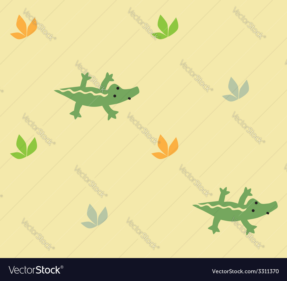 Seamless pattern with funny crocodiles vector | Price: 1 Credit (USD $1)