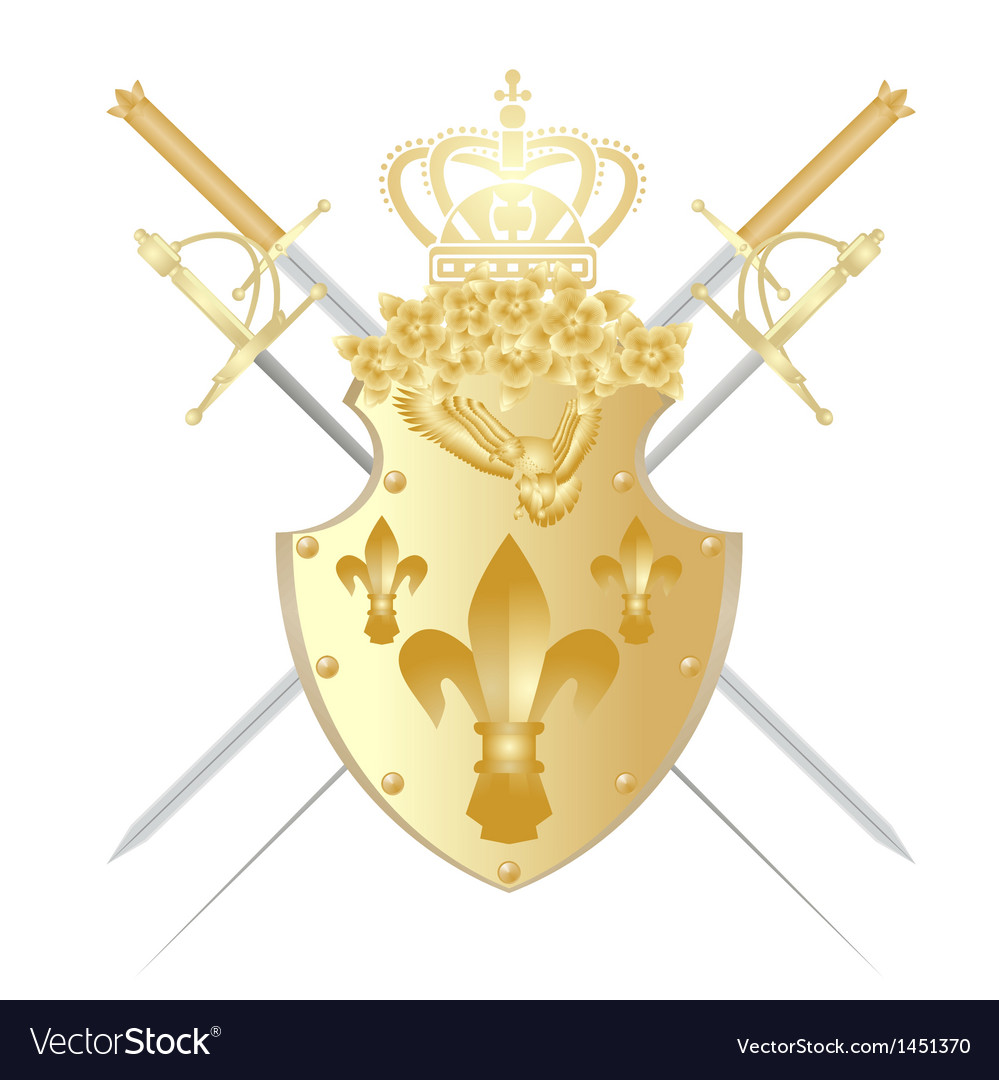 Shield crown and weapons vector | Price: 1 Credit (USD $1)