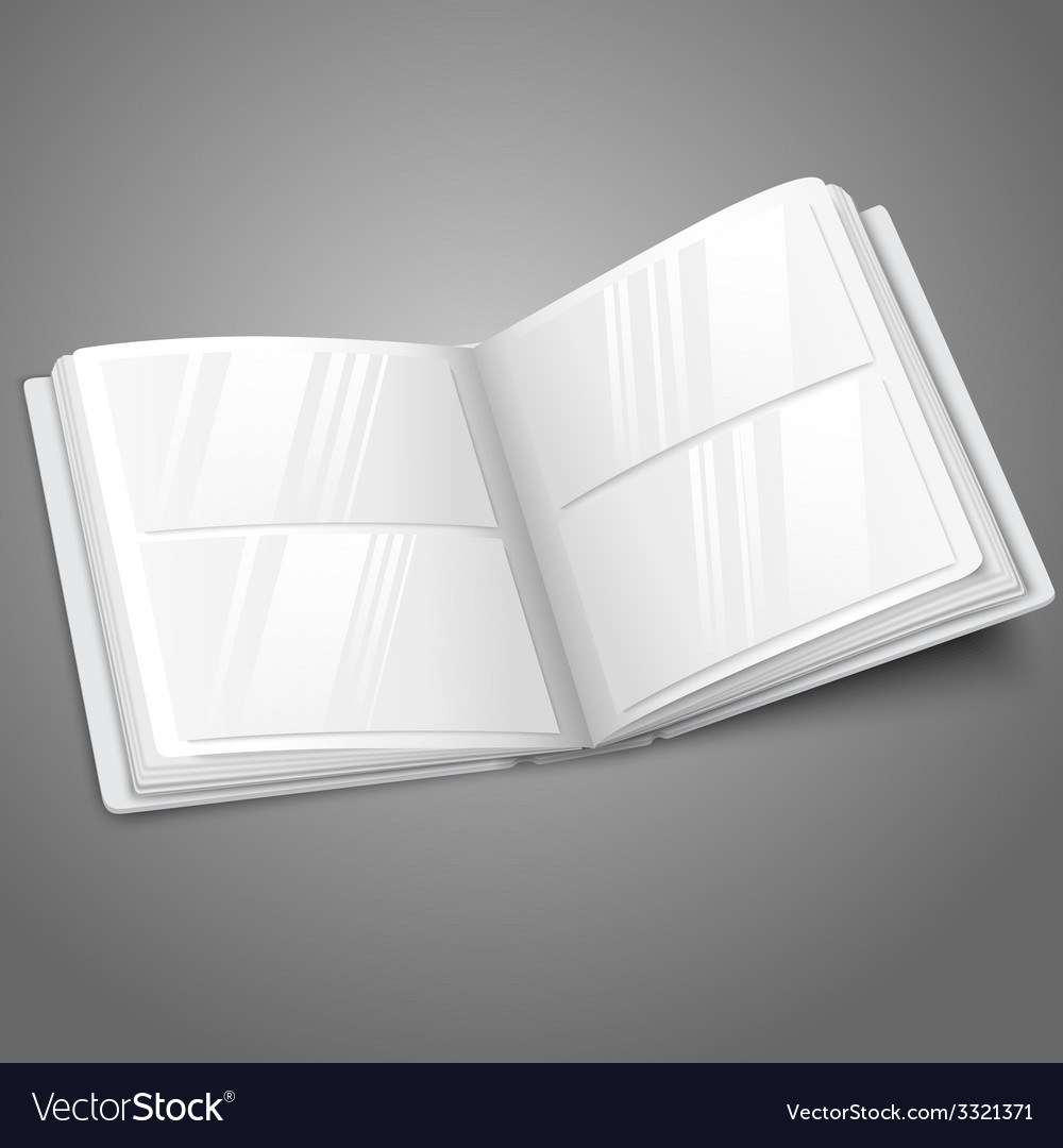 Blank white opened photo album for your messages vector | Price: 1 Credit (USD $1)