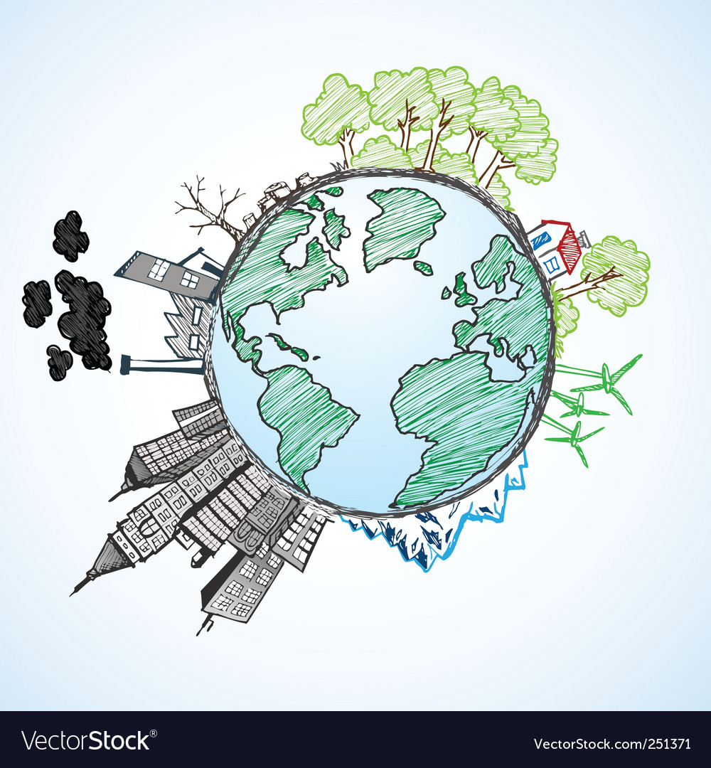 Earth doodle vector | Price: 1 Credit (USD $1)