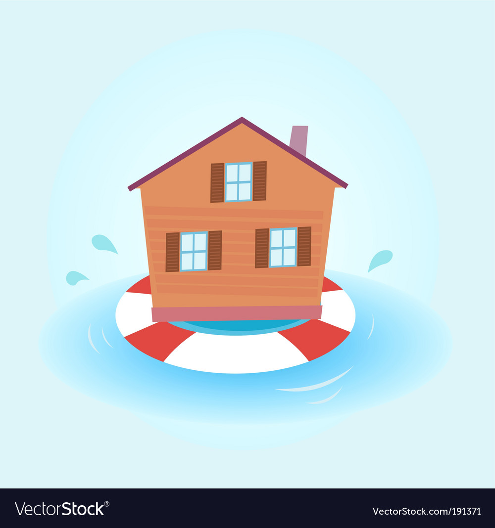 House flood staying afloat vector | Price: 1 Credit (USD $1)