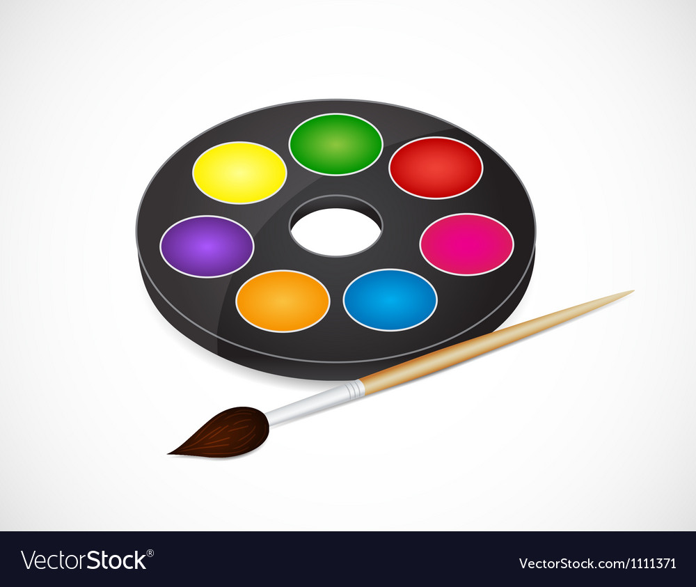 Paintbrush and paints vector | Price: 1 Credit (USD $1)