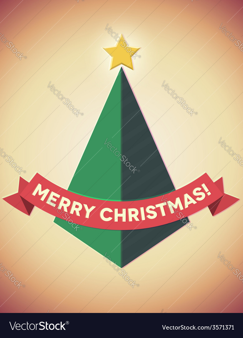 Retro styled geometric christmas tree vector | Price: 1 Credit (USD $1)