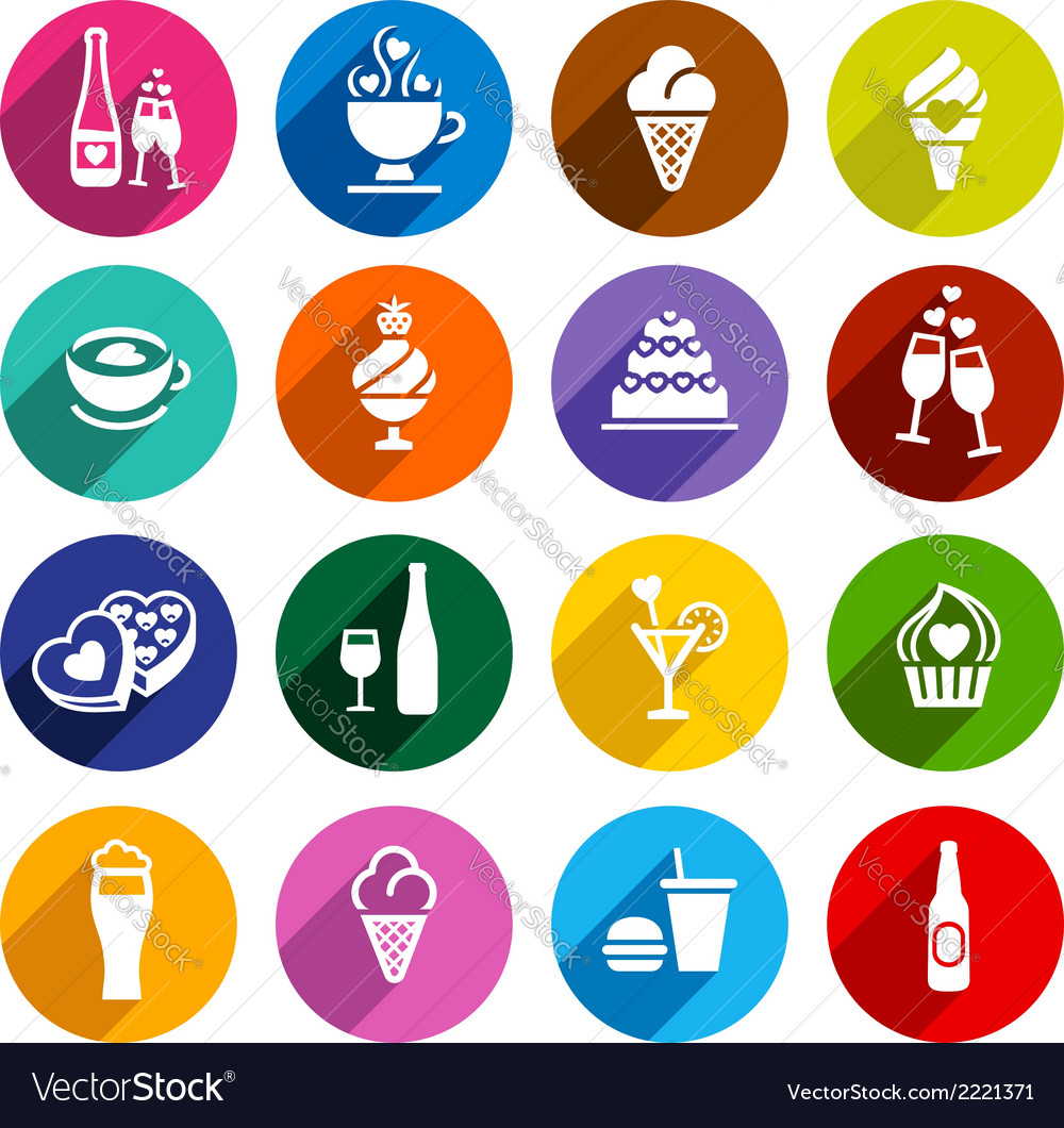 Set flat food icons vector | Price: 1 Credit (USD $1)