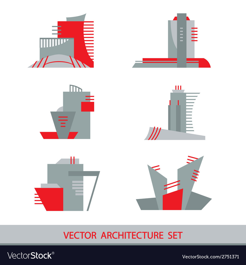 Set of six silhouettes of skyscrapers vector | Price: 1 Credit (USD $1)