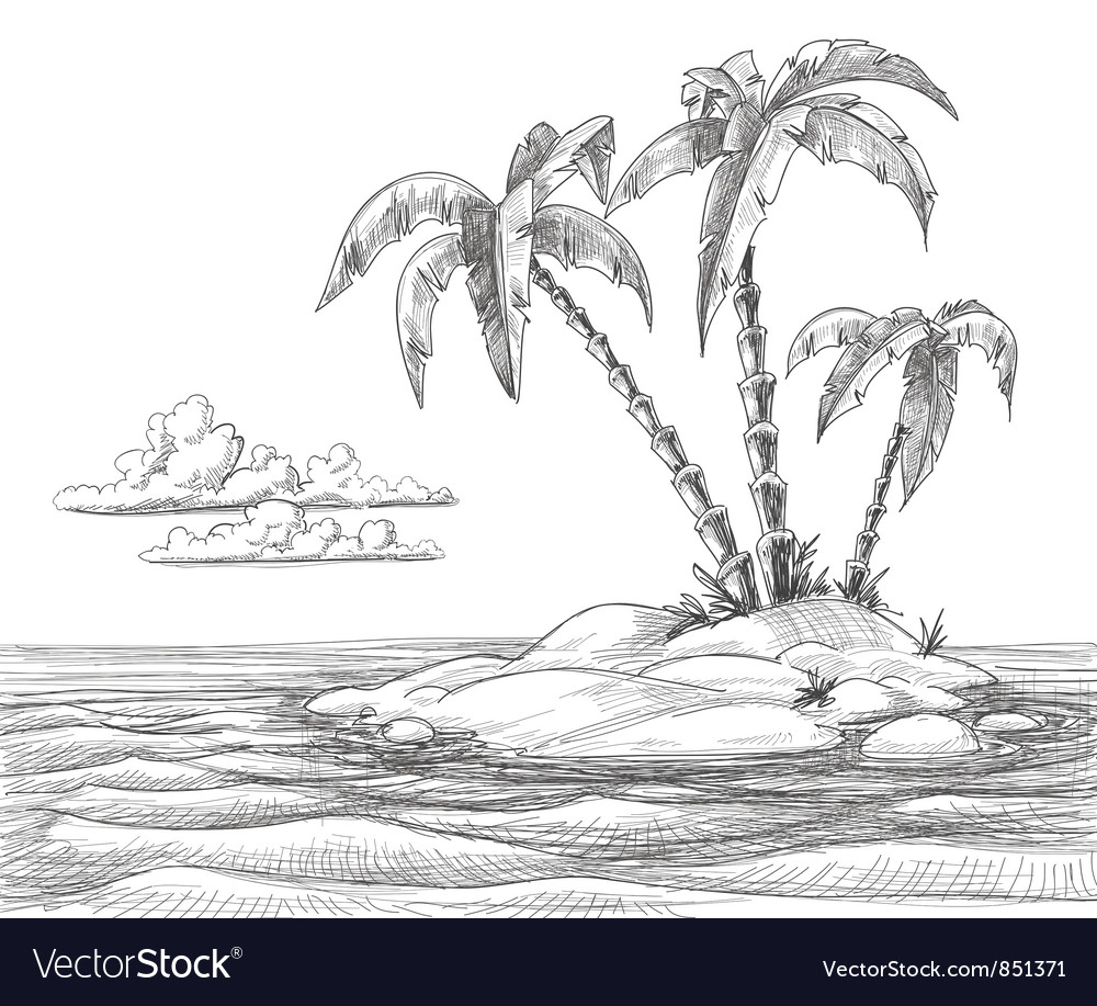 Tropical island sketch vector | Price: 1 Credit (USD $1)