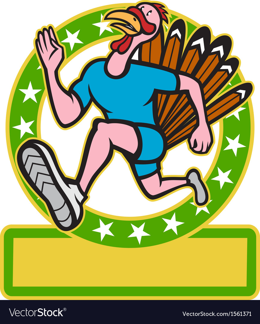 Turkey run runner side cartoon vector | Price: 3 Credit (USD $3)