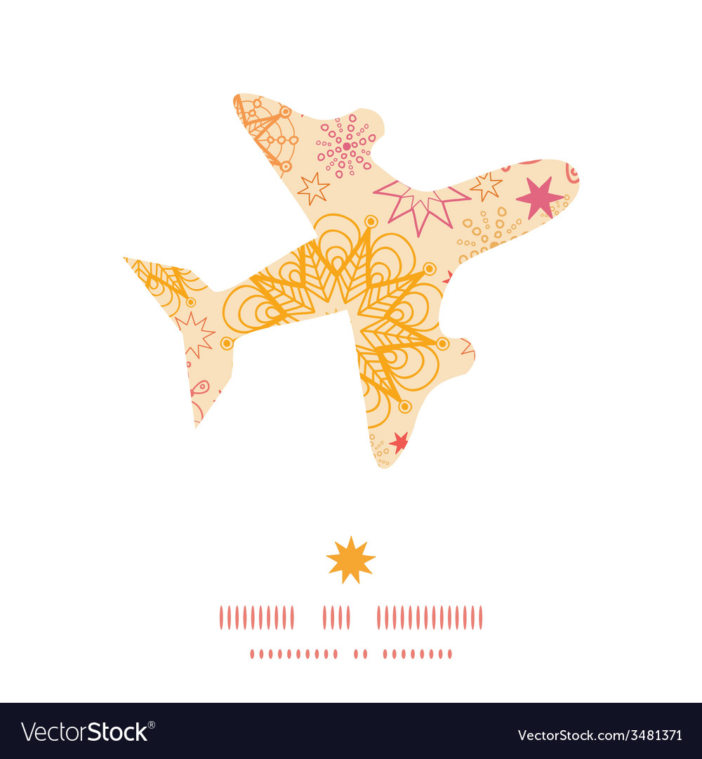 Warm stars airplane silhouette pattern frame vector | Price: 1 Credit (USD $1)