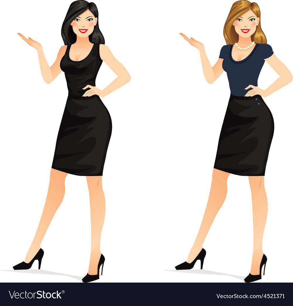 Woman presenting vector | Price: 1 Credit (USD $1)