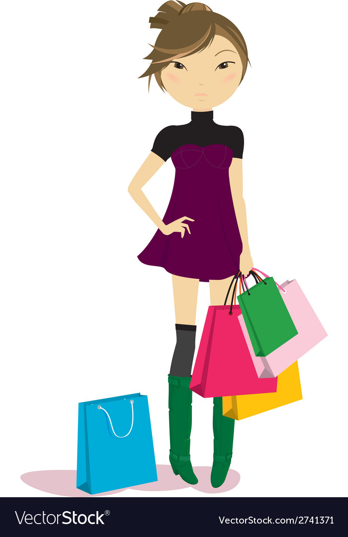 Women with some shopping bags vector | Price: 1 Credit (USD $1)