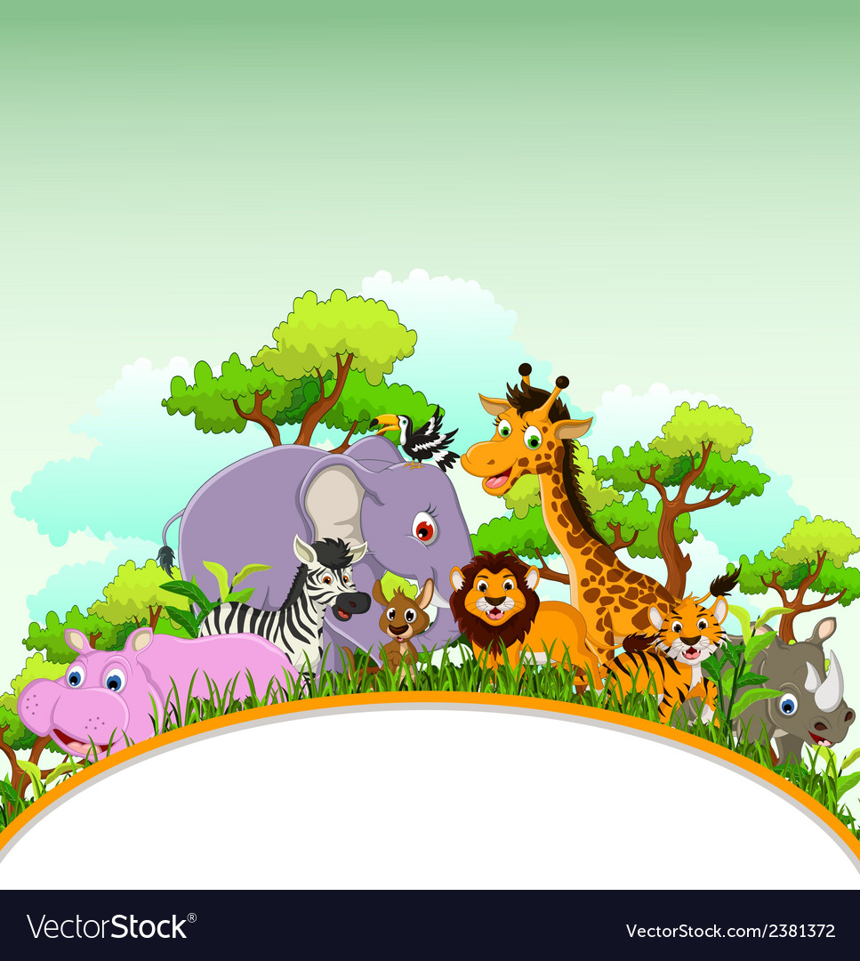 Animal cartoon with blank sign and tropical forest vector | Price: 3 Credit (USD $3)