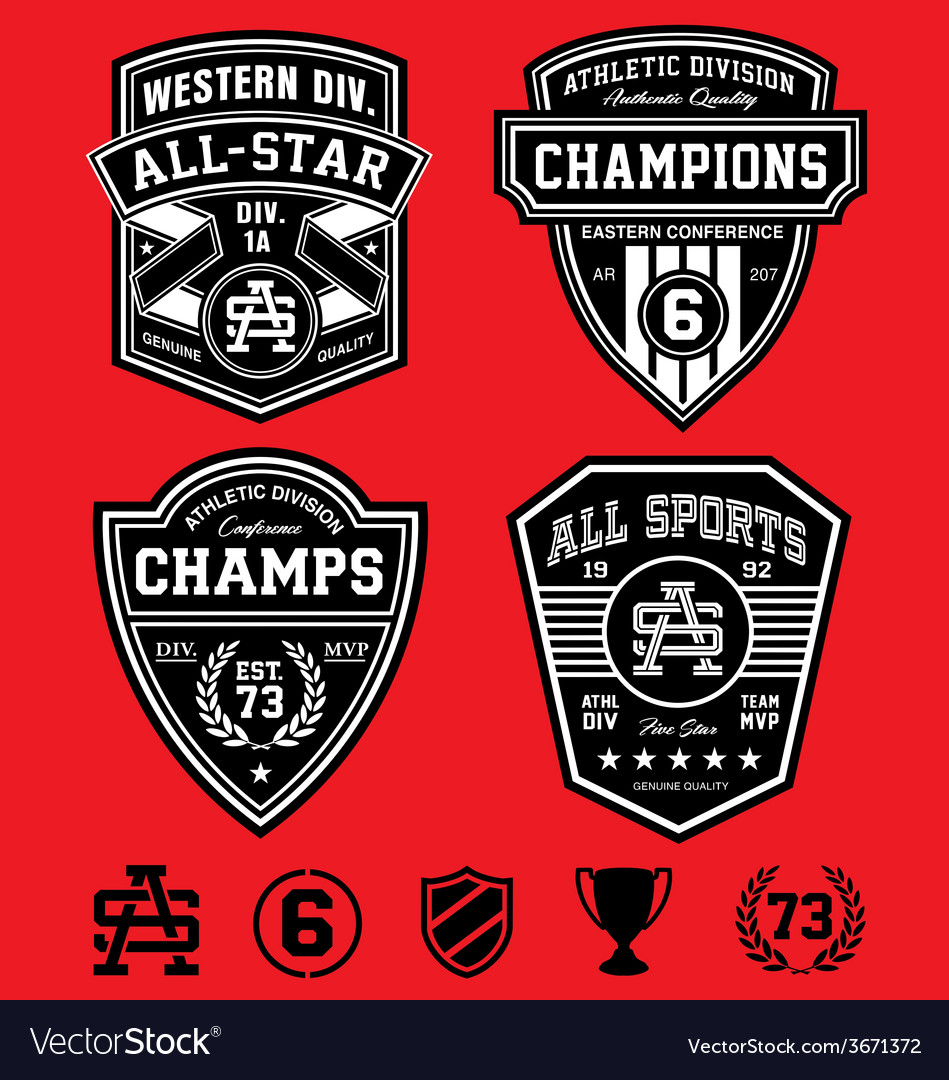 Athletic patch emblems vector | Price: 1 Credit (USD $1)