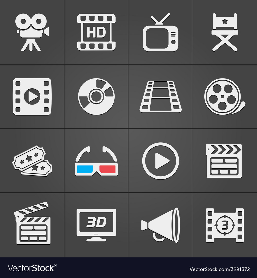 Cinema icons on black background vector | Price: 1 Credit (USD $1)