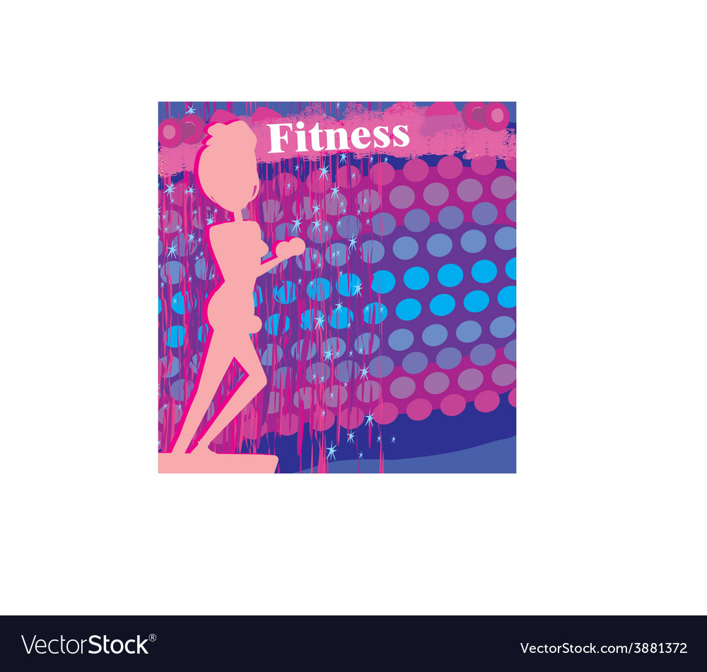 Fit woman exercising - silhouetteabstract card vector | Price: 1 Credit (USD $1)