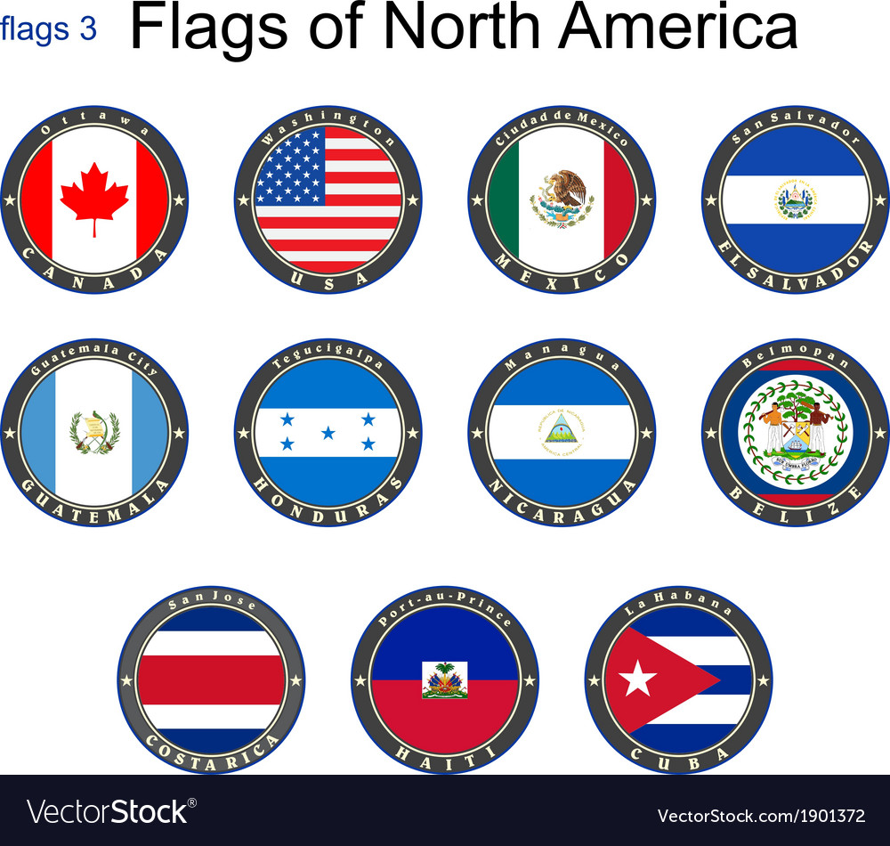 Flags of north america vector | Price: 1 Credit (USD $1)