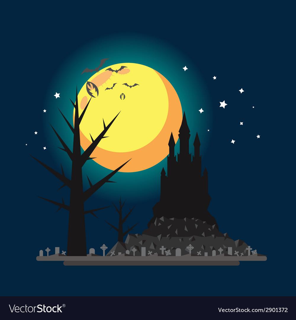 Flat design halloween castle vector | Price: 1 Credit (USD $1)