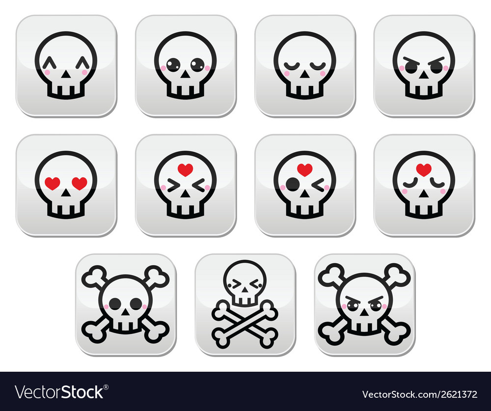 Kawaii cute halloween skull buttons set vector | Price: 1 Credit (USD $1)