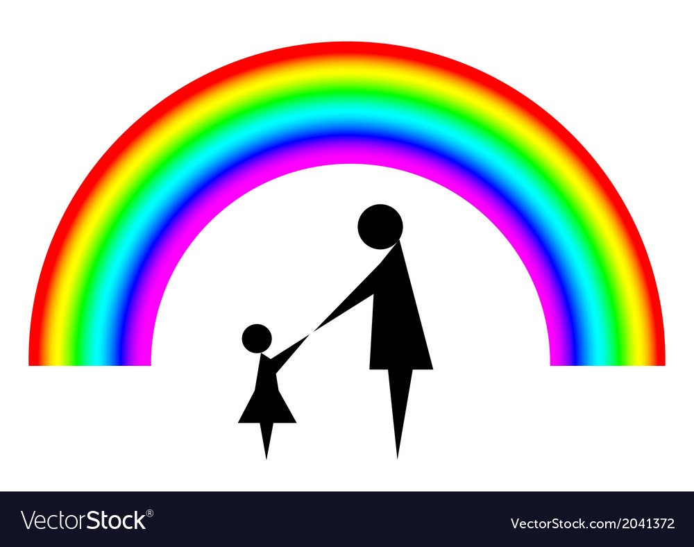 Mother and child with rainbow background vector | Price: 1 Credit (USD $1)