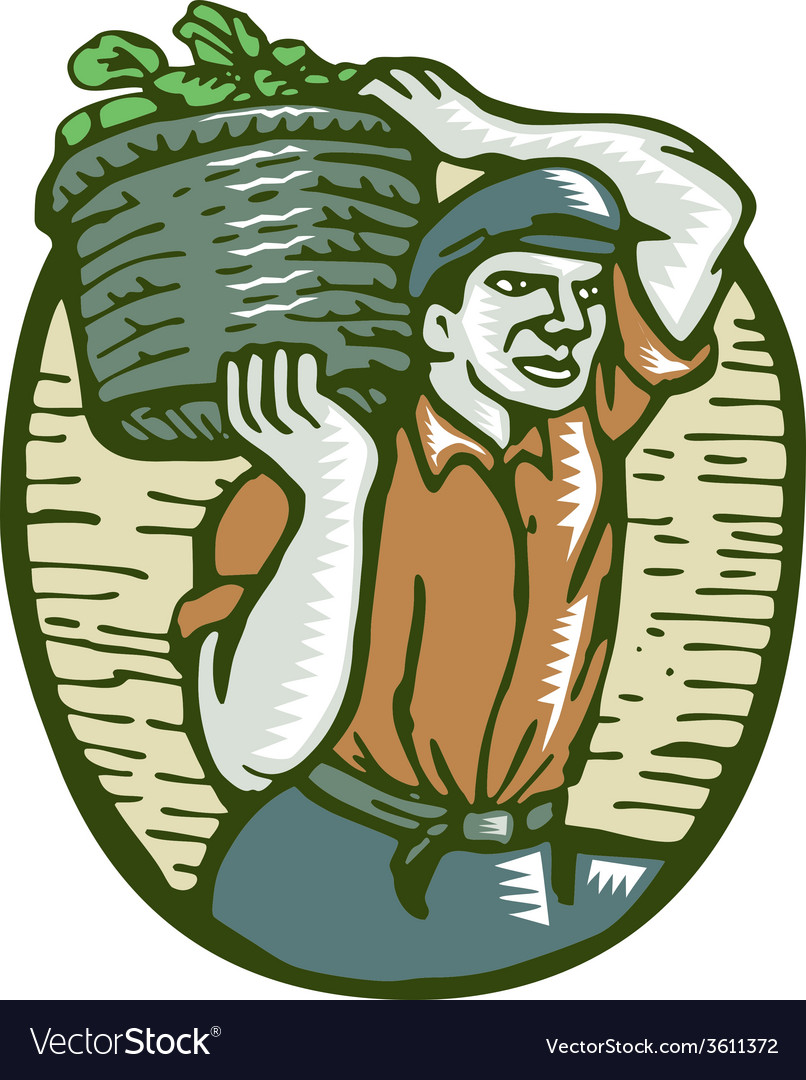 Organic farmer basket crop woodcut linocut vector | Price: 1 Credit (USD $1)