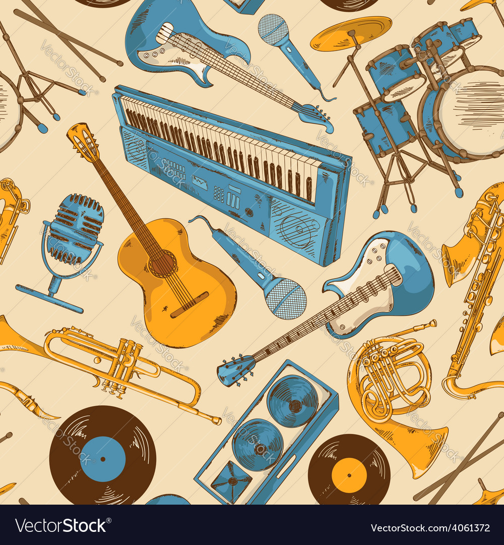 Seamless pattern of colorful musical instruments vector | Price: 1 Credit (USD $1)