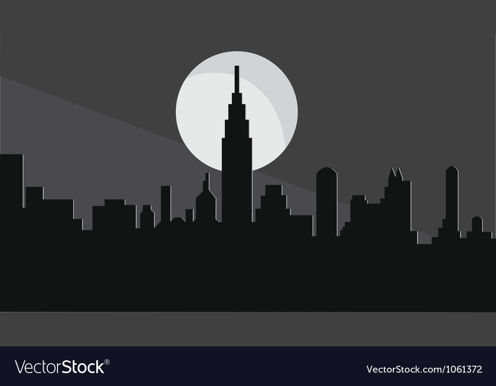 Skyline at night vector | Price: 1 Credit (USD $1)
