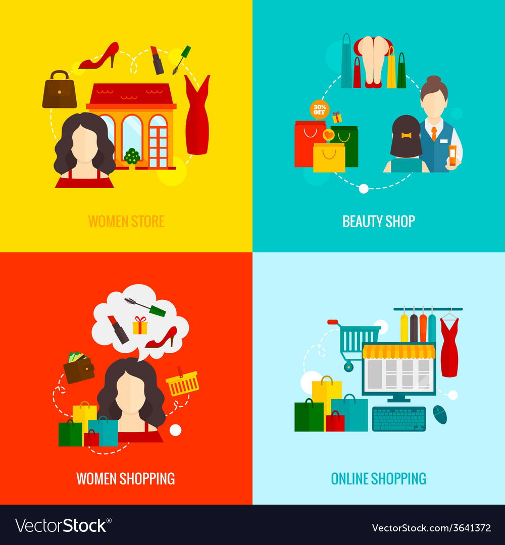 Woman shopping flat vector | Price: 1 Credit (USD $1)