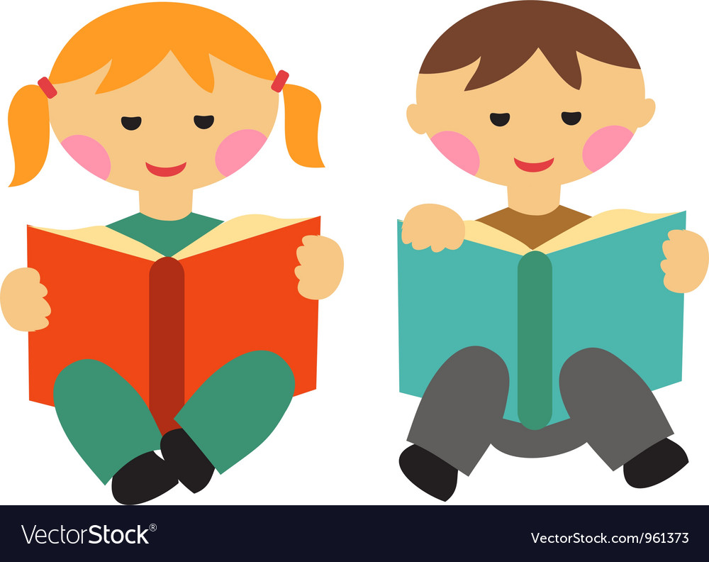 Boy and girl reading books vector | Price: 1 Credit (USD $1)