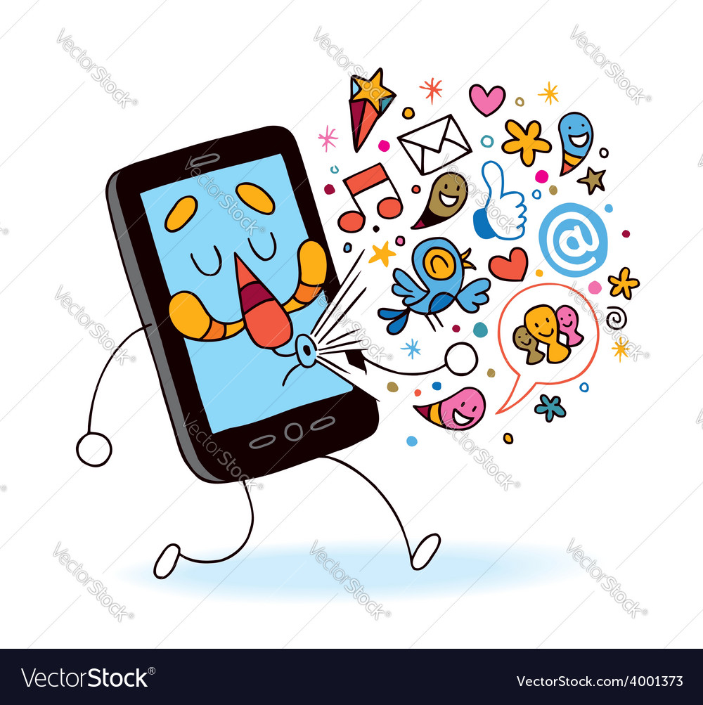 Cartoon mobile phone vector