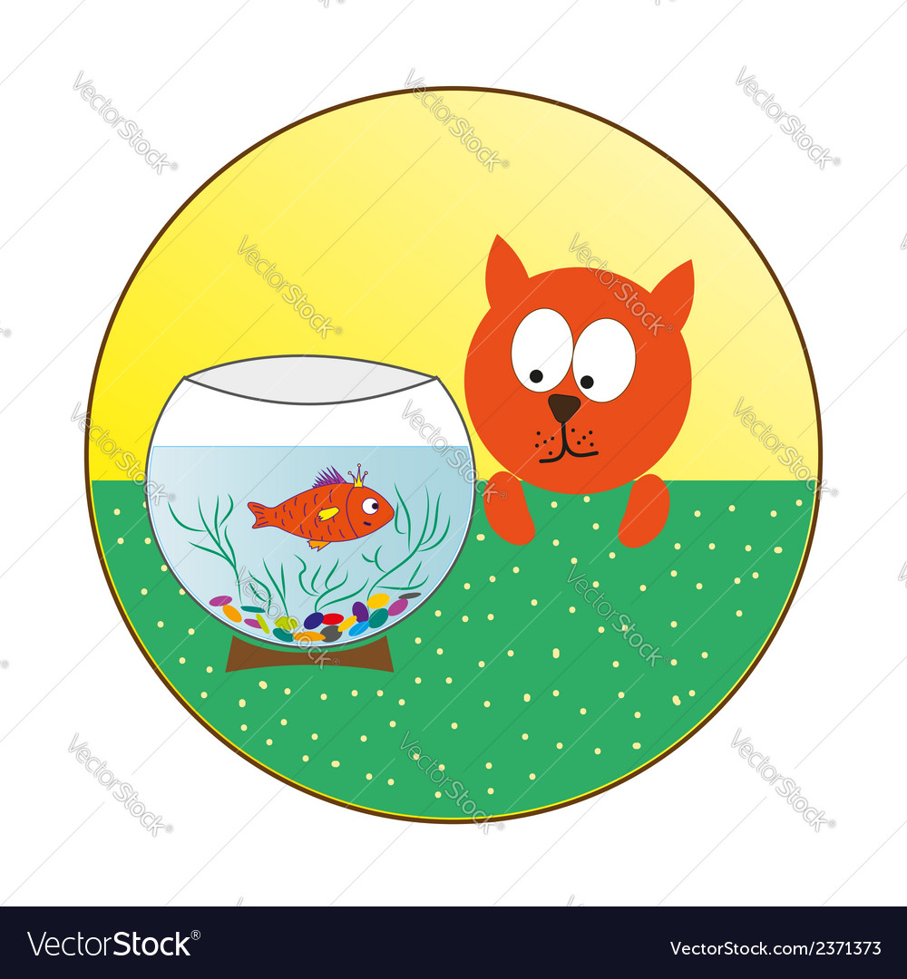 Cat watching fish in an aquarium vector | Price: 1 Credit (USD $1)
