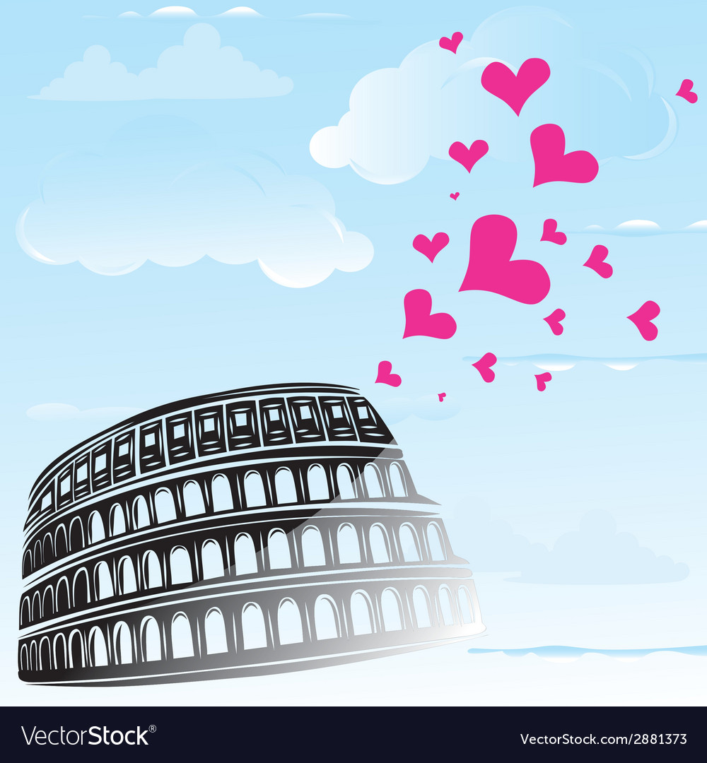 Colosseum and the heart love vector | Price: 1 Credit (USD $1)