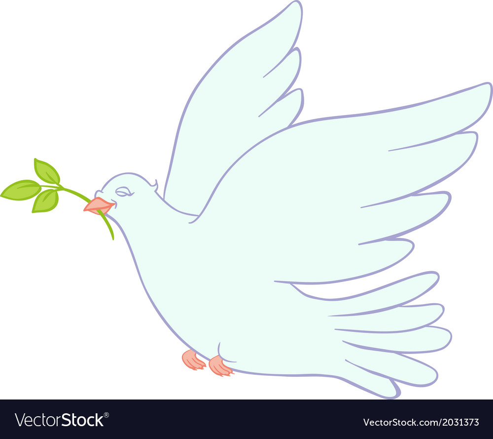 Dove of peace on white background vector | Price: 1 Credit (USD $1)