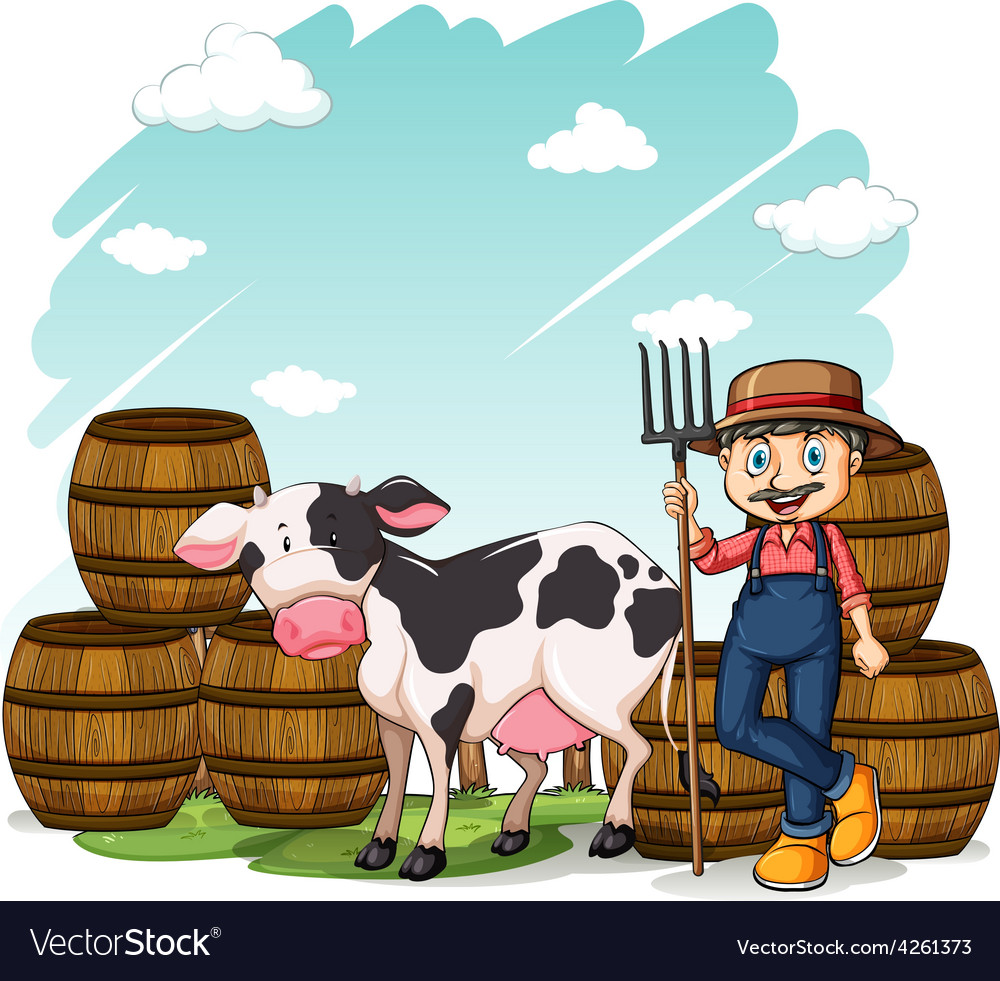 Farmer beside the cow vector