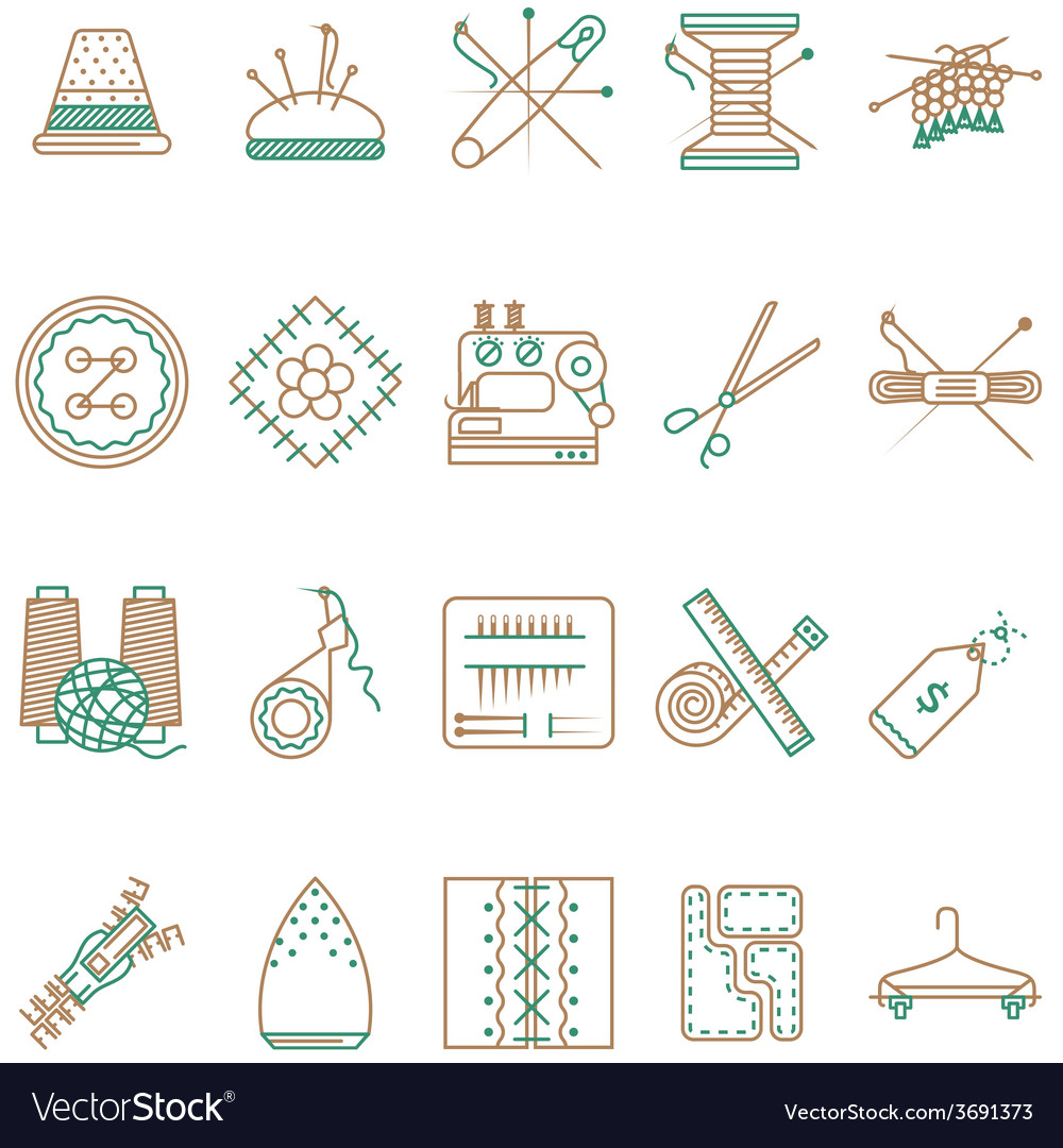 Flat line icons collection of sewing items vector   Price: 1 Credit (USD $1)
