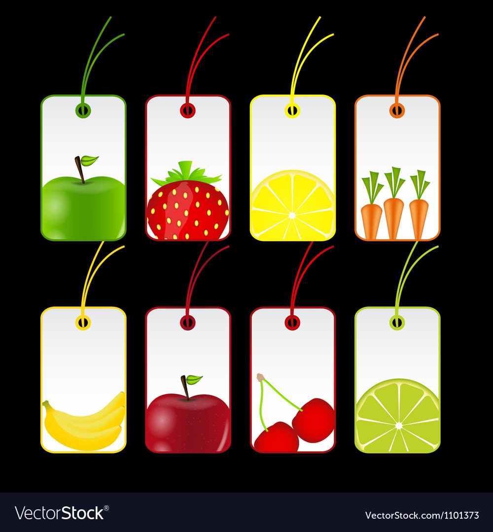 Fresh fruits labels vector | Price: 1 Credit (USD $1)