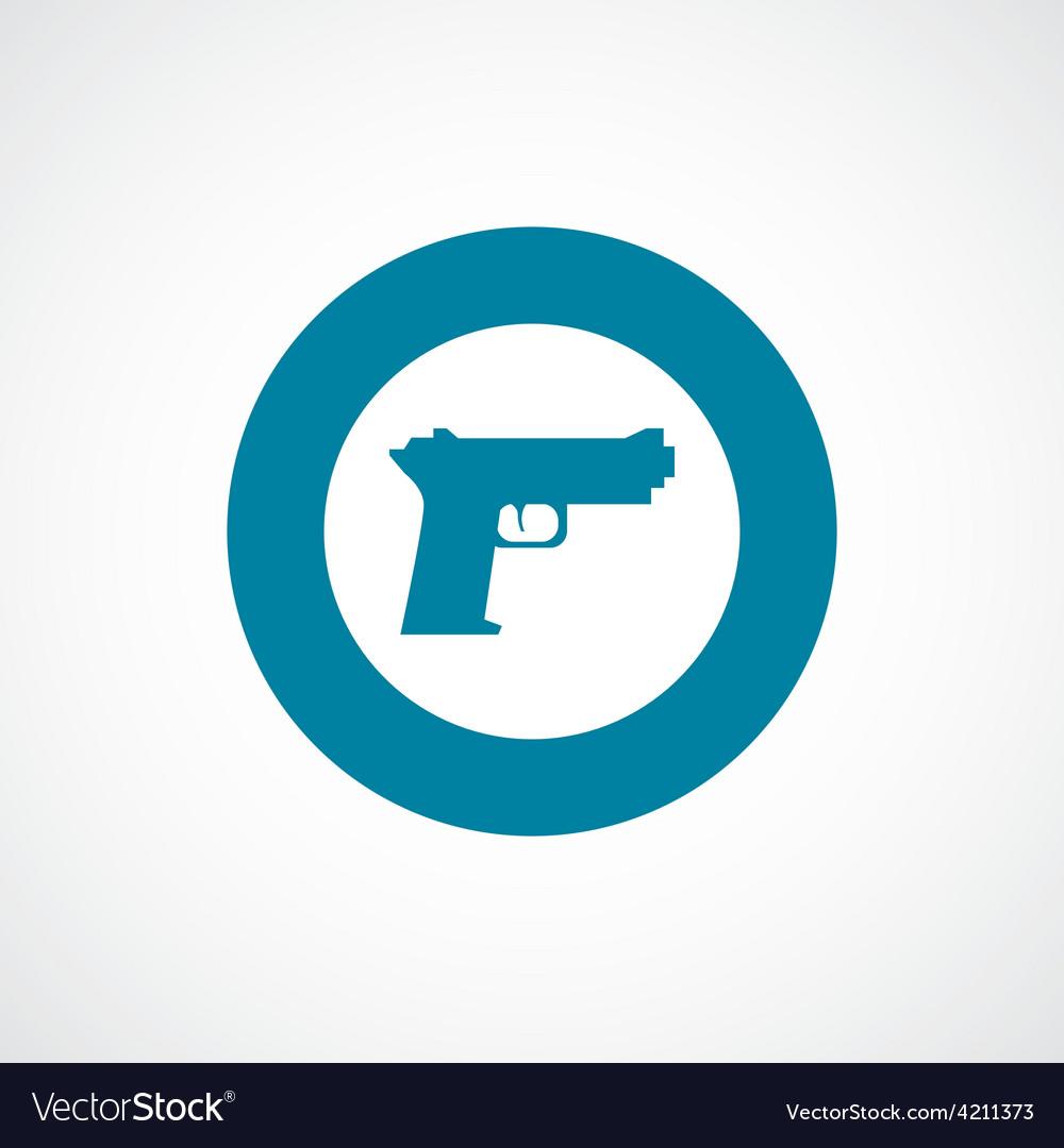 Gun icon bold blue circle border vector | Price: 1 Credit (USD $1)